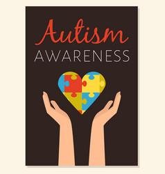 World autism awareness poster or card design flat vector