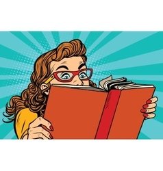 Young lady reading a book vector