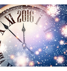 2016 New year clock with snowy background vector image vector image