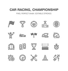 car racing flat line icons speed auto vector image vector image