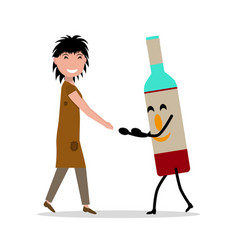 cartoon young adult woman bottle alcohol vector image