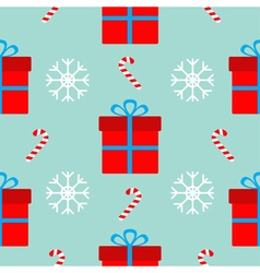 Christmas gift box with bow snowflake red and vector image vector image