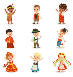 Kids wearing national costumes of different vector
