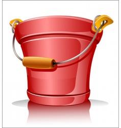 metallic bucket vector image vector image