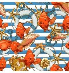 Seamless background with Sea Shells and fish vector image