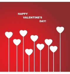 Valentines Day Heart Flowers on Red Background vector image vector image