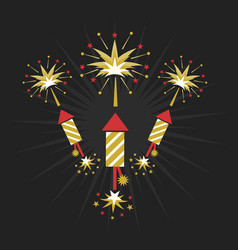 Abstract golden and red rocket firework on black vector
