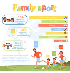 family sport infographic poster with parents and vector image