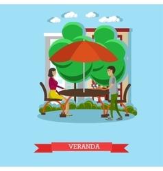 People having lunch on veranda vector image
