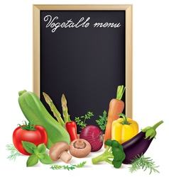 Vegetable menu board and vegetables vector image vector image