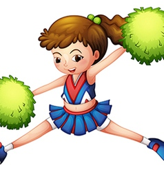 A cheerdancer with a green ponytail and green vector image