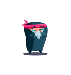 Cute Emotional Ninja Crying with Handkerchief vector image