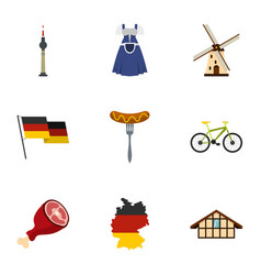 germany elements icons set flat style vector image