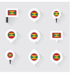 grenada flag and pins for infographic and map vector image