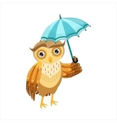 Owl With Umbrella Cute Cartoon Character Emoji vector image