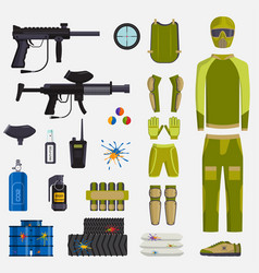 paintball game guns and player body vector image
