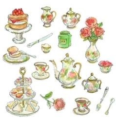 tea time scrapbook set vector image vector image