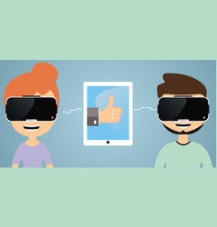 virtual reality communication vector image