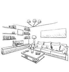 Hand drawn room interior Furniture sketch vector image vector image