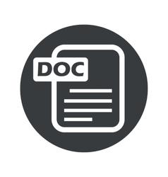 Monochrome round DOC file icon vector image