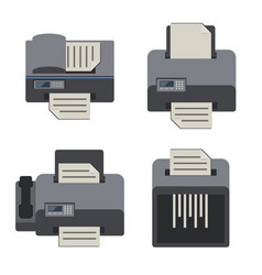 Office electronics flat icons set vector