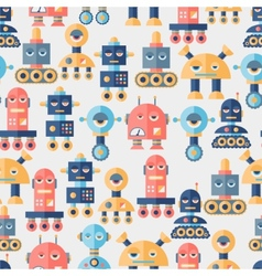 Seamless robots pattern in flat style vector image