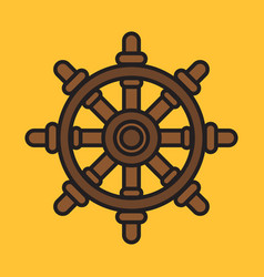 ship steering wheel colorful icon on yellow vector image vector image
