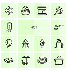 14 hot icons vector image