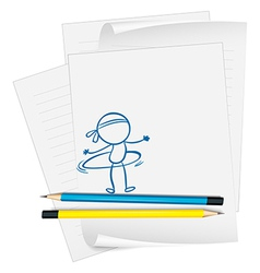 A paper with sketch of person with hula hoop vector