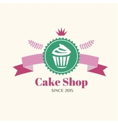Abstract cake vintage logo element Cakes vector image