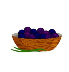 Acai berries in plate black fruit vector
