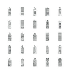 amsterdam house icons set outline style vector image