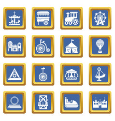 amusement park icons set blue square vector image