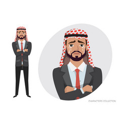 Arab businessman crying exhausted man in vector