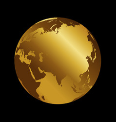 Asia golden 3d metal planet backdrop view russia vector