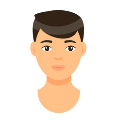 Avatar brown-haired young man isolated at white vector