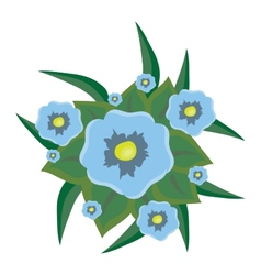 beautiful blue flowers with leaves vector image