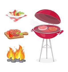 Beefsteak roasted meat set vector