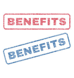 benefits textile stamps vector image