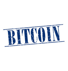 Bitcoin blue grunge vintage stamp vector