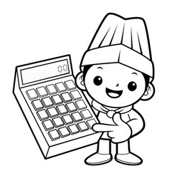 black and white funny chef mascot is instructing vector image