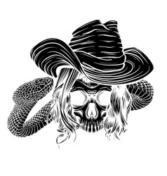 black silhouette tattoo with skull and snake vector image