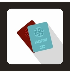 Blue and red passport icon flat style vector image