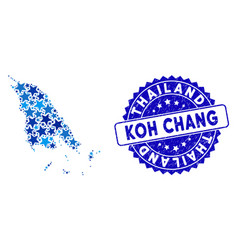 Blue star koh chang map composition and scratched vector