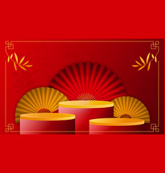 bright red round stage podium and art chinese new vector image
