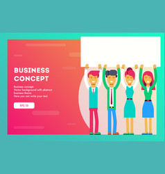 business team are holding a sheet vector image
