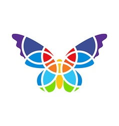 Butterfly mosaic isolated white background vector