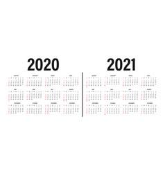 Calendar 2020 and 2021 template design vector