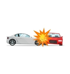 Car crash two automobiles vector