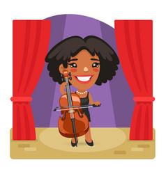 cartoon cellist woman on stage vector image